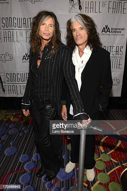 Inductees Steven Tyler and Joe Perry of Aerosmith attend the Songwriters Hall of Fame 44th Annual Induction and Awards Dinner at the New York...
