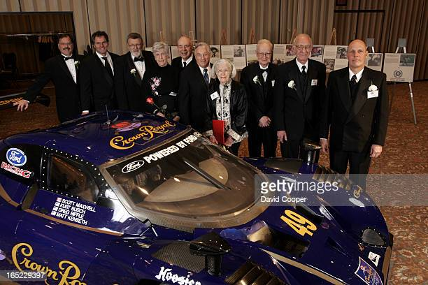 Inductees to Canadian Motorsport Hall of Fame gather at the Sheraton Centre Saturday Night LR are Jacques Dallaire Lorne Leibel Bruce Simpson Doreen...