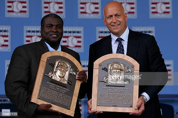 Inductee's Tony Gwynn and Cal Ripken Jr. Pose with their plaques at Clark Sports Center during the Baseball Hall of Fame induction ceremony on July...