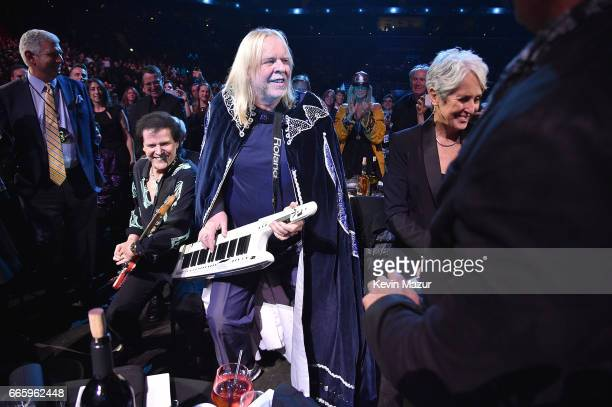 Inductees Trevor Rabin and Rick Wakeman of Yes perform onstage during the 32nd Annual Rock Roll Hall Of Fame Induction Ceremony at Barclays Center on...