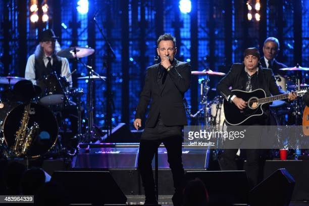 Inductees Vini Lopez Steve Van Zandt and Max Weinberg performs onstage with Bruce Springsteen at the 29th Annual Rock And Roll Hall Of Fame Induction...