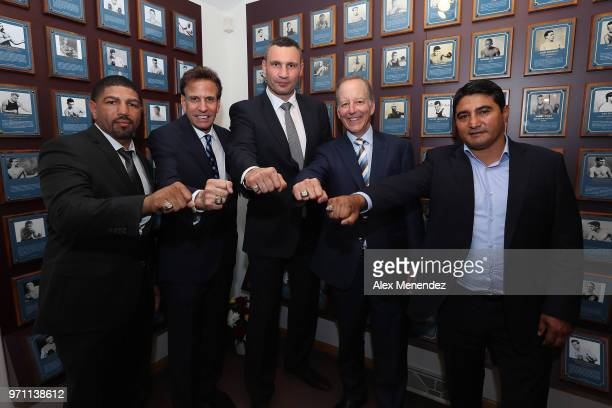 Inductees Winky Wright Steve Albert Vitali Klitschko Jim Gray and Eric Morales pose with their rings at the International Boxing Hall of Fame for the...