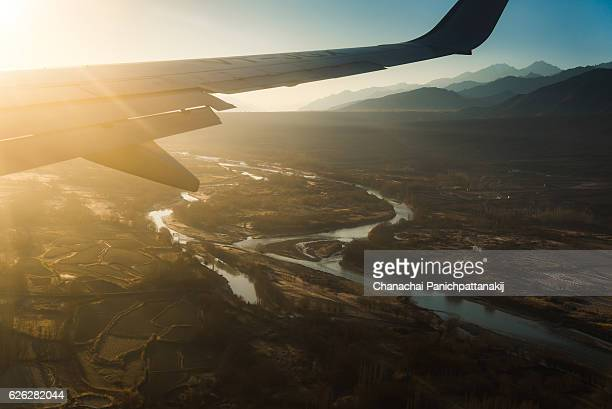 Indus river view from above in Leh, Ladakh, India