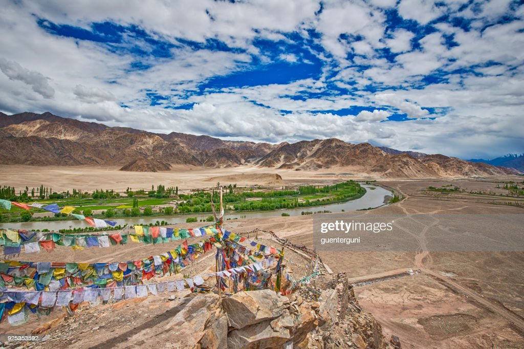 Indus Valley in Ladakh, Northern India, seen from Stakna Gompa : Stock Photo
