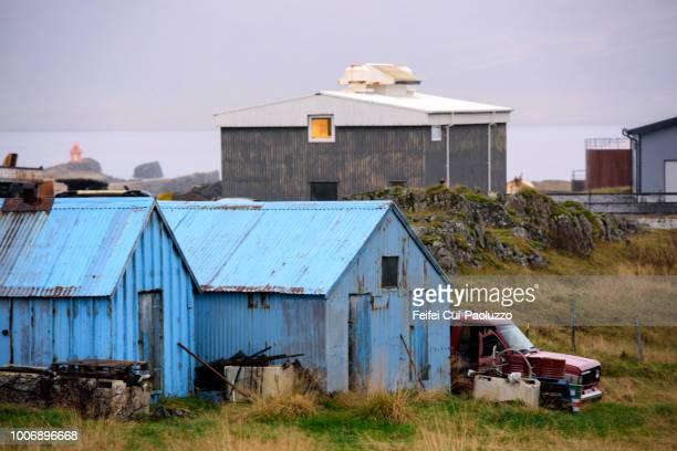 industiral zoon of djúpivogur, iceland - austurland stock-fotos und bilder