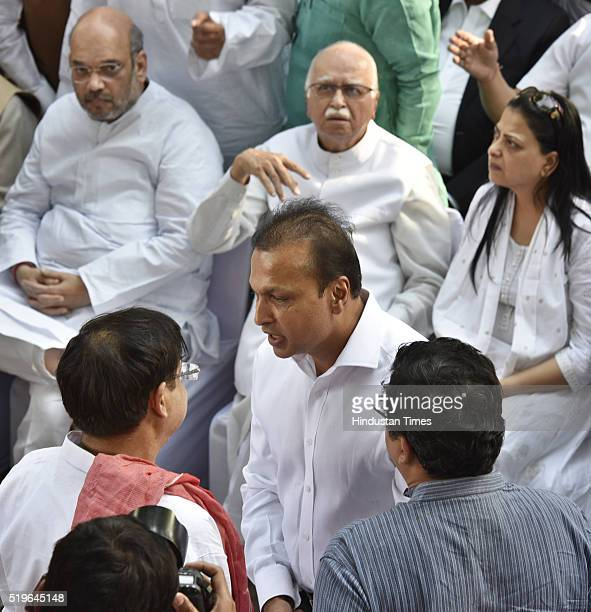 Industralist Anil Ambani during the funeral of Kamla Advani wife of senior BJP leader LK Advani at Nigambodh Ghat on April 7 2016 in New Delhi India...