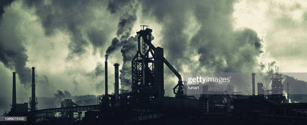 Industrial Area With Heavy Air Pollution : Stock Photo