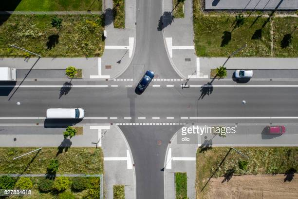 industrial area,road junction, aerial view - road junction stock pictures, royalty-free photos & images