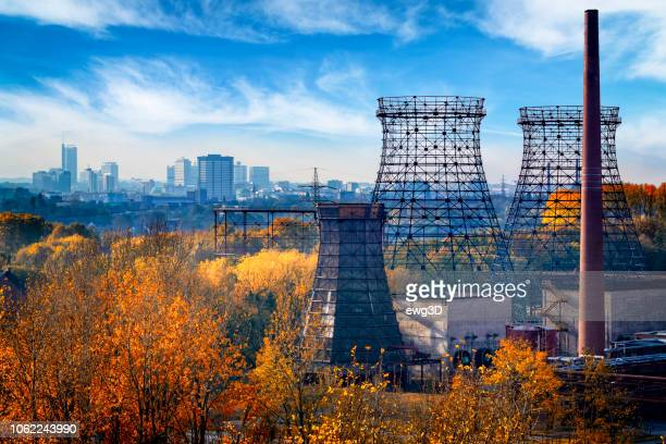 industrial autumn landscape in the ruhr, essen, germany - north rhine westphalia stock pictures, royalty-free photos & images