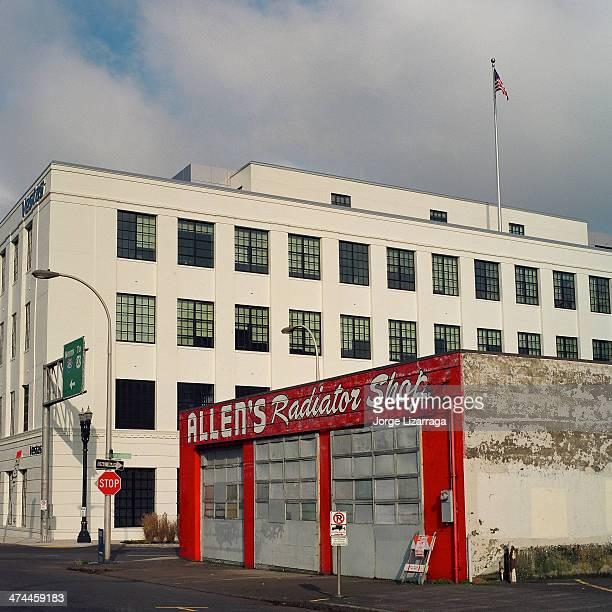 CONTENT] Industrial buildings renovated building behind older auto repair shop Hasselblad 500C/M Lens Carl Zeiss Planar CF 80mm f/28 T* Film Kodak...