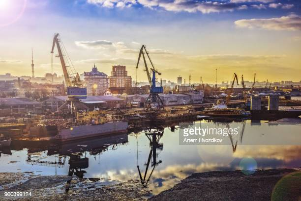 industrial cityscape view in a harbor, day, outdoor - ukraine stock pictures, royalty-free photos & images