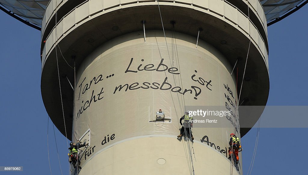 Deutsche Telekom Wrapps Up TV Tower With World's Longest Love Letter : News Photo