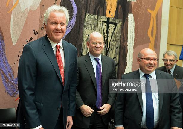 US industrial conglomerate General Electric chief executive Jeffrey Immelt Vice President Corporate Business Development at GE John Flannery and...