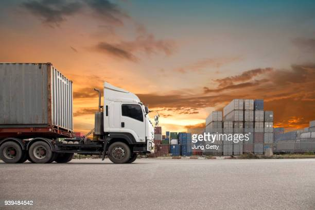 Industrial Container Cargo freight ship for Logistic Import Export concept beautiful sunset nature background