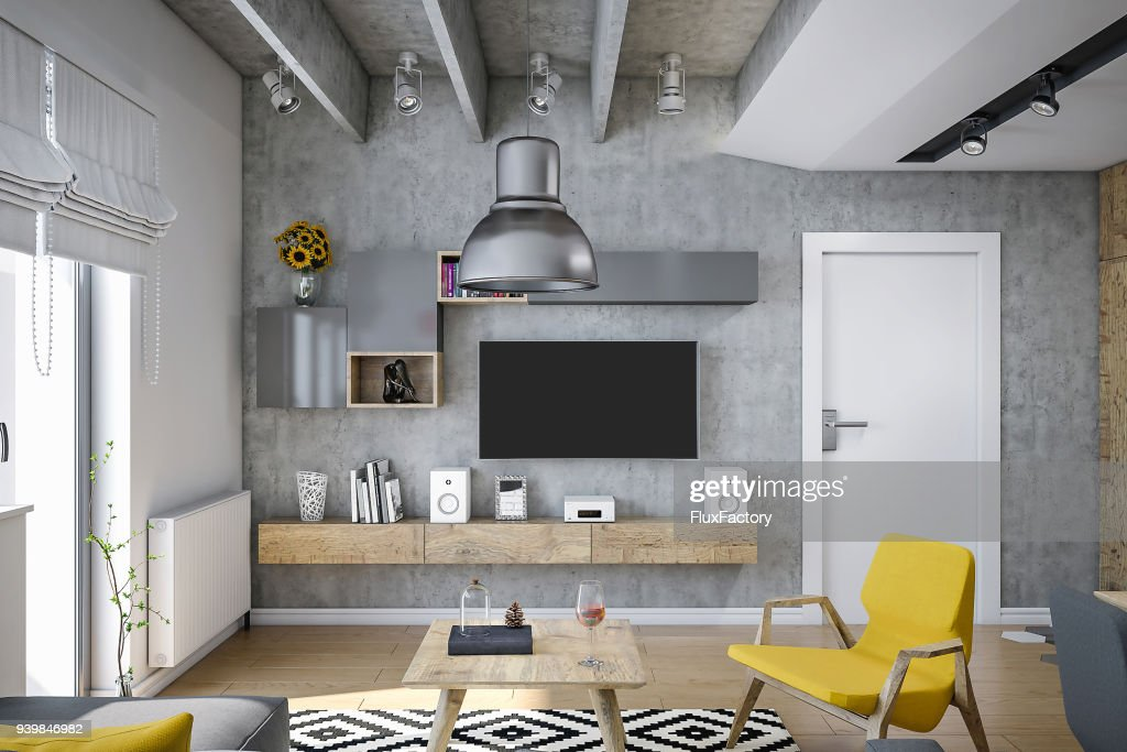 images of modern furniture. Industrial Design Living Room Render , With Modern Furniture And Yellow Details : Stock Photo Images Of
