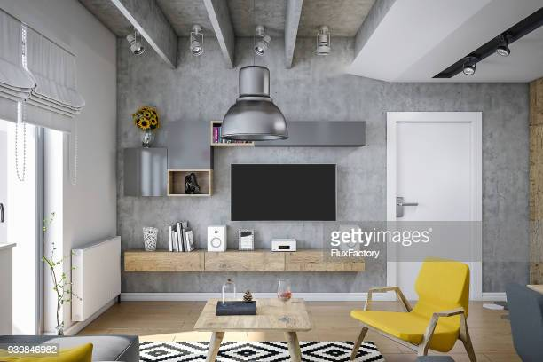 Industrial design living room render , with modern furniture and yellow details
