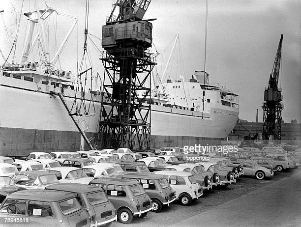 27th June 1960 Cars for export to the USA await loading on the dockside at Birkenhead during a strike by 11 000 dockers
