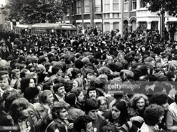 11th July 1977 Police and demonstrators pictured during the picketing of the Grunwick film processing factory in Willesden North London where the...