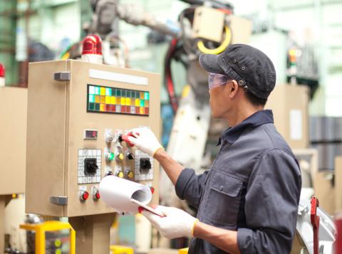 Industrial engineer in factory 457740697