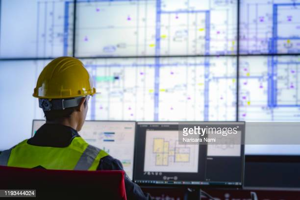 industrial engineering works in front of monitoring screen in the control centre. technology and ai concept. - politics stock pictures, royalty-free photos & images