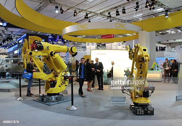 Industrial equipment are seen during Hannover Messe industrial fair 2015 on April 13 2015 in Hannover Germany Hannover Messe industrial fair 2015...