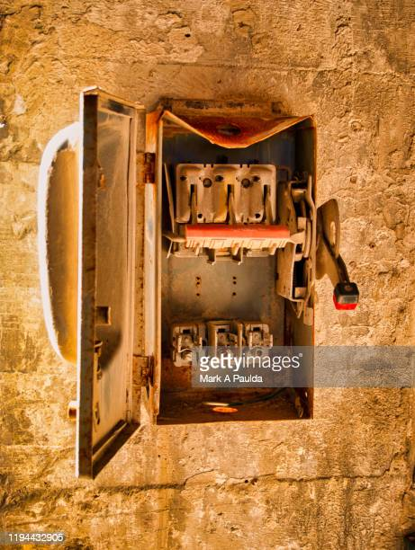 industrial fuse box in derelict factory - electrical panel box stock pictures, royalty-free photos & images