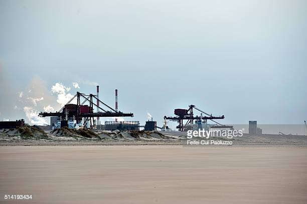Industrial harbor and Polimeri Europa of Dunkirk of Nord Department France