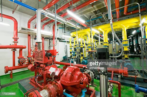 industrial interior and pipes - electric motor stock photos and pictures