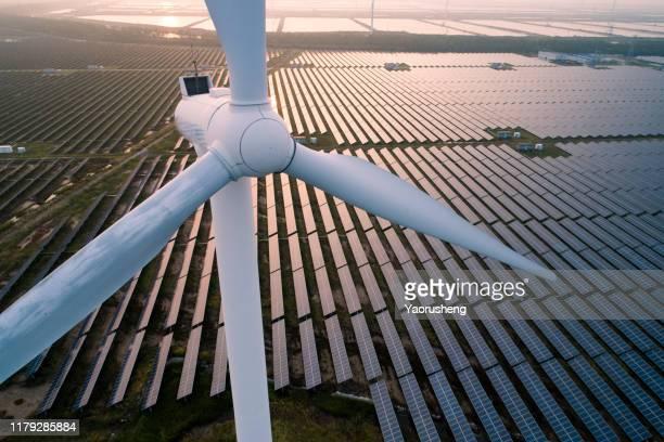 industrial landscape with different energy resources. sustainable development. - energie industrie stockfoto's en -beelden