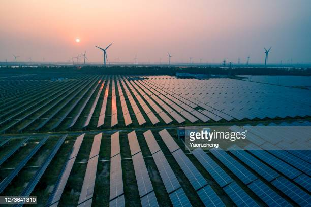 industrial landscape with different energy resources. sustainable development.net zero - solar equipment stock pictures, royalty-free photos & images