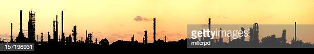 Industrial panorama silhouette at sunset