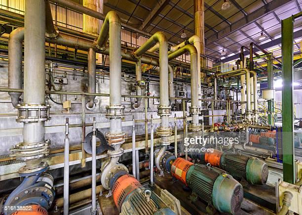 Industrial pipes inside aluminium processing plant