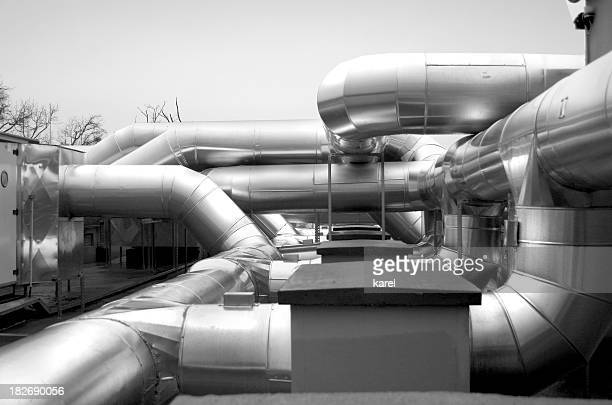 industrial pipes - cooling rack stock photos and pictures