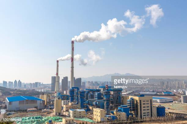 industrial power plant with smokestack - coal stock pictures, royalty-free photos & images