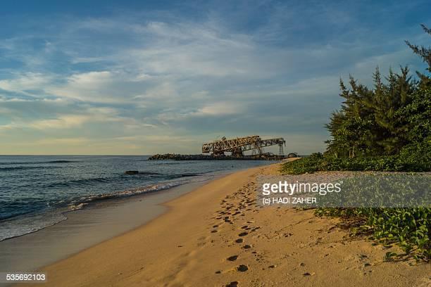 industrial remains | old phosphate loaders | nauru - nauru stock pictures, royalty-free photos & images