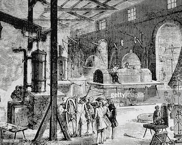 Industrial Revolution, London. Interior of an English factory. Late 18th century, Nineteenth-century.