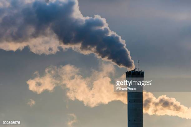 industrial smoke stack - carbon footprint stock pictures, royalty-free photos & images