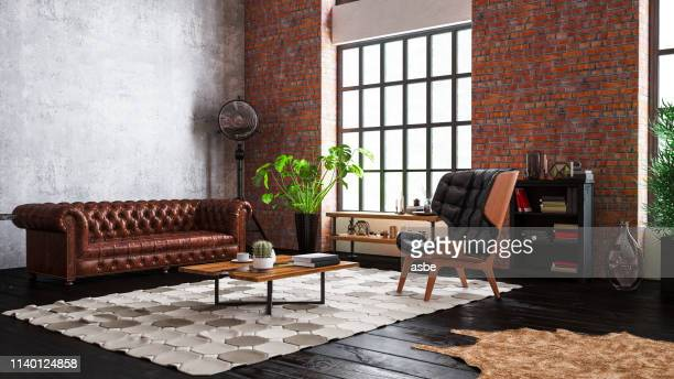 industrial style loft apartment - elegance stock pictures, royalty-free photos & images