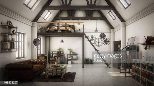 appartamento loft in stile industriale - loft foto e immagini stock
