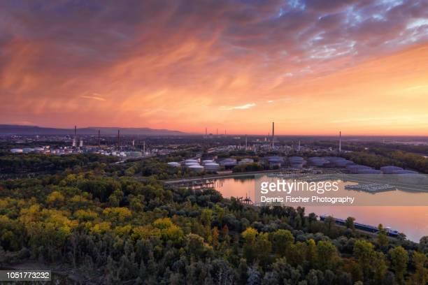 industrial sunset - karlsruhe stock-fotos und bilder