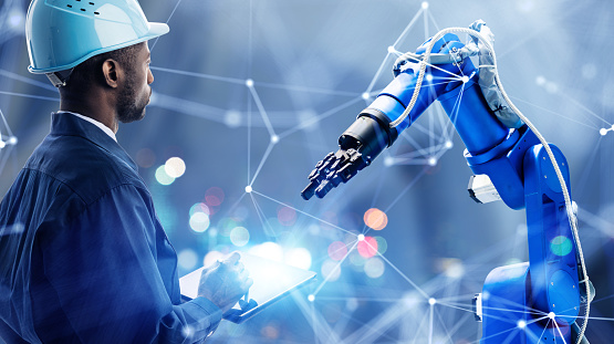 Industrial technology concept. Communication network. INDUSTRY 4.0. Factory automation. 1204386765