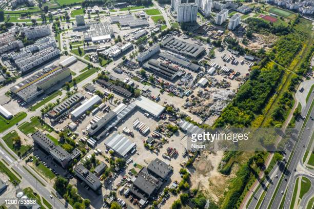 industrial units from air - office park stock pictures, royalty-free photos & images