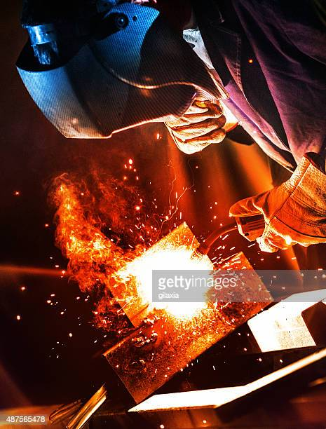Industrial welding work.