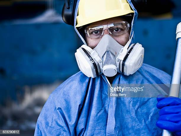 Industrial worker wearing protective equipment