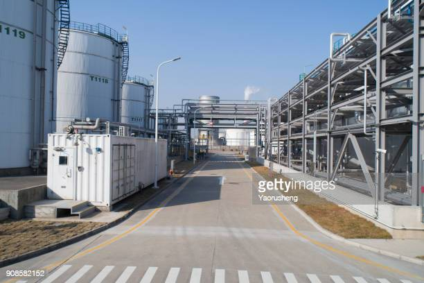 Industrial zone,The equipment of oil refining,Close-up of industrial pipelines of an oil-refinery plant