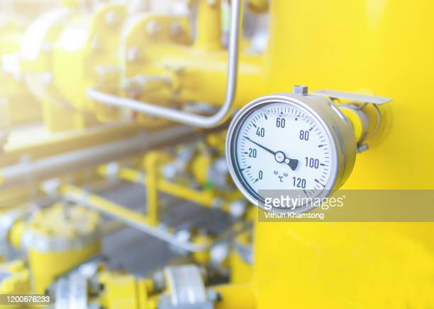 industrial zone,valve control and measuring gas pressure,pipeline at gas metering station - gauge stock pictures, royalty-free photos & images