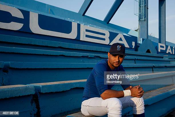Industriales baseball player Yunieski Gourriel sits for a photograph in the stands at El Latinoamericano stadium in Havana Cuba on Thursday Jan 22...
