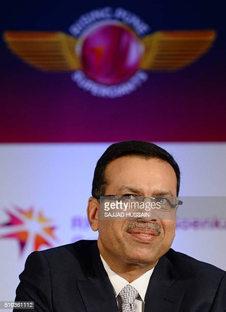 Industrialist and owner of the Indian Premier League's Rising Pune Supergiants cricket team Sanjiv Goenka speaks during an event to unveil the team...