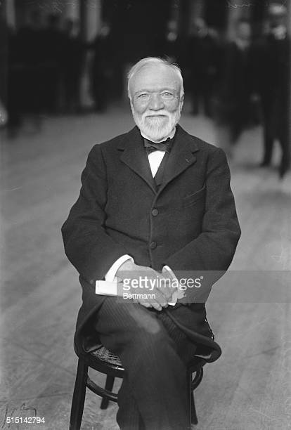 Industrialist Andrew Carnegie waiting to be called to the witness stand during a hearing of the Federal Industrial Relations Commission