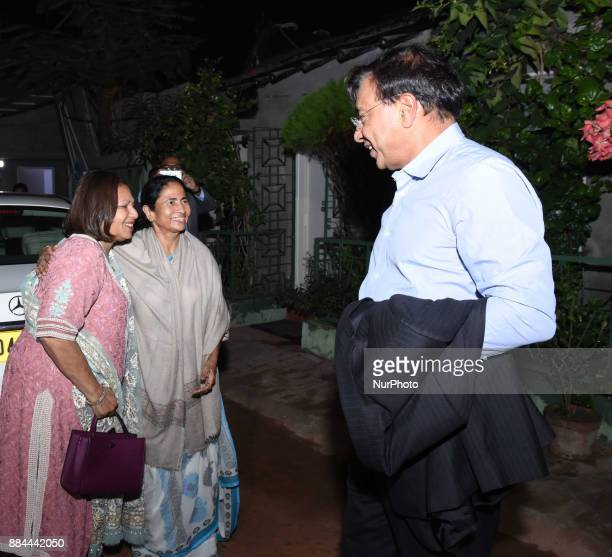 Industrialist Lakshmi Mittal along her Wife Usha Mittal today meet to Mamata Banerjee Chief Minister of West Bengal at his resident on December...
